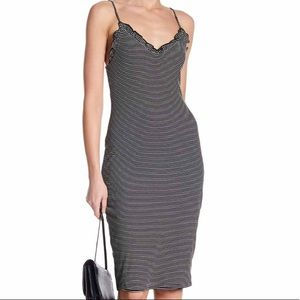 CAD Stripe Rib Ruffle Tank Dress Black & white